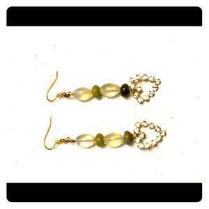 Multi gemstone rhinestone heart earrings